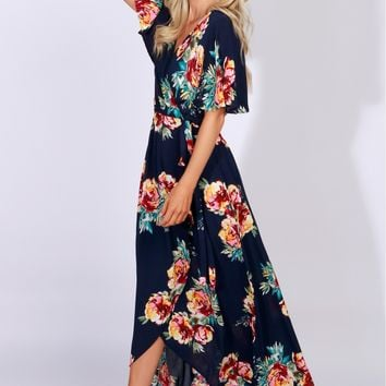 Floral Wrap Maxi Dress Navy