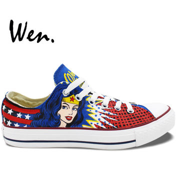 Wen Hot Sale Hand Painted Shoes Design Custom Low Top Wonder Woman Boys Girls High Top Canvas Sneakers for Men Women's Gifts