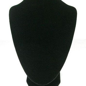 Jewelry Necklace Display Bust, Black Velvet Pedestal Displays, Wood And Cardboard, 17cmx25cm