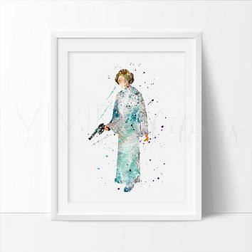 Princess Leia Star Wars Watercolor Art Print