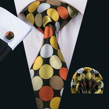 LS-1516 Barry.Wang Classic Men`s Tie 100% Silk Yellow Polka Dot Necktie Hanky Cufflink Set For Men`s Wedding Party Business