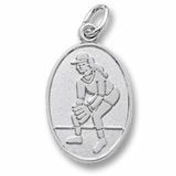 Female Softball Charm In 14K White Gold