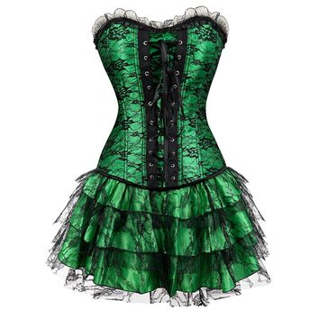 Gothic Lace Overbust Steampunk Corset Skirt 7074-2