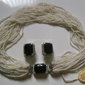 NINA RICCI Paris White Glass Beads Emerald Cut Onyx Cabochon Rhinestones 24-Strands Fancy Silver Clasp Versatile Torsade Necklace & Earrings