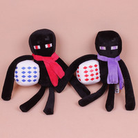 Minecraft Enderman Red Purple Plush Toys Dolls Classic Game Enderman with Scarf and Cubic Stuffed Animals Spider Wolf Ghost Christmas Gifts