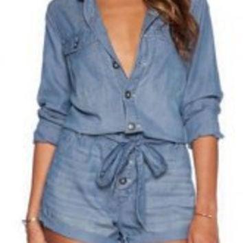 Deep Blue Turn-Down Collar Long Sleeve Tie-Waist Romper