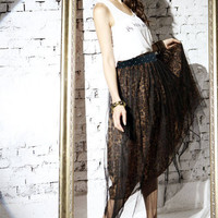 Sumptuous Sexy Gauze Pieced Two Layers Leopard Pattern Long Skirt