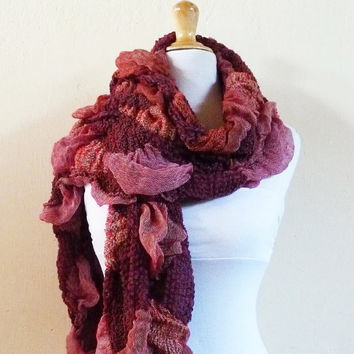 Scarf - BURGUNDY / RED Fancy Scarf - Luxury textured long chunky scarf - accessories