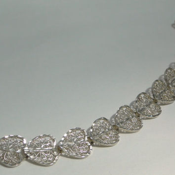 HUGE Sale Filigree Hearts Sterling Bracelet Excellent Workmanship