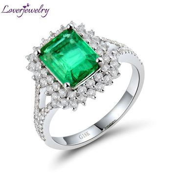 Classic Engagement Diamond Jewelry Vintage Solid 18kt White Gold 1.71Ct Natural Emerald Wedding Women's Ring WU284
