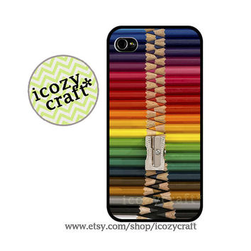 color pencils iphone 4 case, iphone 5 case, iphone 4s case - ,colorful, vintage ,retro , iphone case cover -099