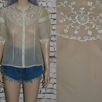 70s Gibson blouse Prairie top shirt Victorian Sheer Ivory floral festival boho mod hipster Steampunk s m 50s 40s pin up rockabilly