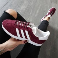 Adidas Gazelle Fashion Burgundy Casual Sport Shoes Sneakers