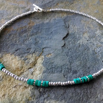 Turquoise and silver beaded choker, simple beaded choker, layering necklace, beach jewelry, turqouise necklace, turquoise jewelry