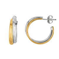Sterling Silver Yellow Tone And Rhodium Shiny Finish Double Row Round Hoop Earrings  - 30 mm Diameter