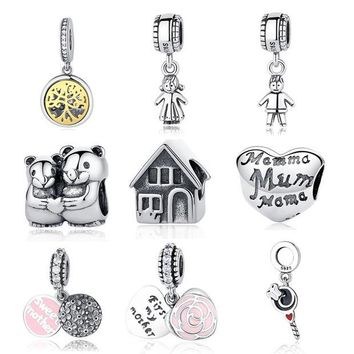 ONETOW Authentic Sterling Silver 925 Original Charm Pandora Bracelet Diy Charms Beads Family Mom Sister Baby Jewelry Tree Pendant