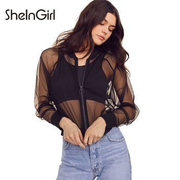 SheInGirl Sexy Mesh Sheer Women Jacket Coat Zipper Brief Preppy Bomber Jacket Casual Chic Female Summer Streetwear