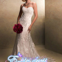 wedding dress lace wedding dress mermaid style wedding dress custom size 1104005