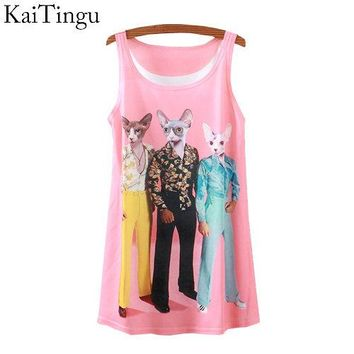 2015 New Fashion Vintage Spring Summer Women Sleeveless Print Animal Horse Lion Love Printing T Shirt Tee Blouse Vest Tank Tops