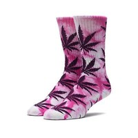 HUF Authentic Tie Dye Plantlife Adult Crew Socks - Pink / Purple