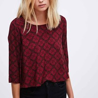 Cooperative Floral Flute Top in Burgundy - Urban Outfitters