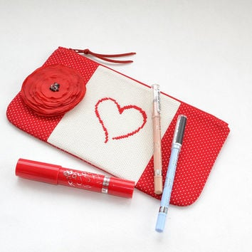 Red heart cosmetic bag | Cross stitch heart pouch | Polka dot pencil case | Zipper Organizer Travel Case | Love purse