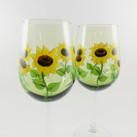 Sunflower Wine Glasses Hand Painted Pale Green Set of 2