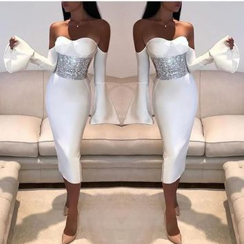 5fe9dac77bc White Zipper Cut Out Off Shoulder Bell Sleeve Bodycon Elegant Party Midi  Dress