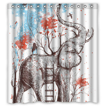 "66"" x 72"" Elephant Tree Shower Curtain"