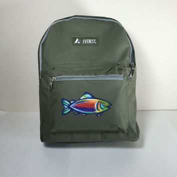 Everest Backpack in Green with Hand Painted Fish