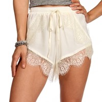 Cream Lace Jogger Shorts