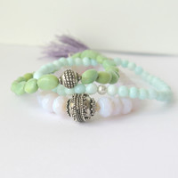 Opal Stacking Bracelet - Pink Blue Green - Opal Bracelet - One of a Kind