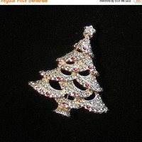 ON SALE Vintage Christmas Tree Pin, Red Rhinestones & Marcasite, Christmas Tree Brooch, Silver Tone Holiday Brooch.
