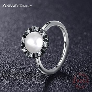 ANFASNI 49% OFF Real 100% 925 Sterling Silver Finger Ring With Pearl & Clear CZ Wedding Jewelry For Women PSRI0019-B