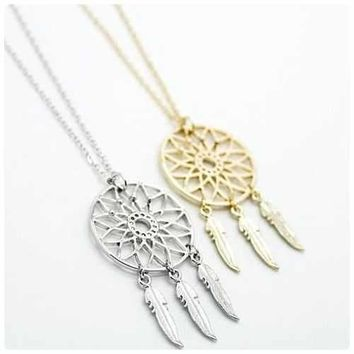 BELIEVE The Dream Catcher Necklaces In Yellow And White Gold Plating