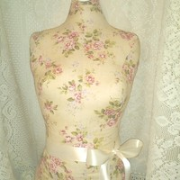 Boutique Dress form designs with stand, life size torso great for store front display or home decor. Cream Floral inspired by pottery barn.