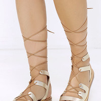 Steve Madden Rella Gold Leather Lace-Up Sandals