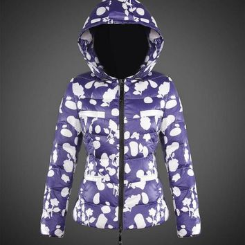 Moncler Women Down Jacket Blue and white