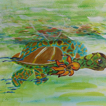 Baby Sea turtle with Sunflower Study Original Acrylic Painting on watercolor paper