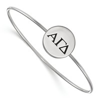 925 Rhodium Flashed Silver Black Enamel Alpha Gamma Delta Bangle Bracelet