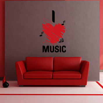 Vinyl Wall Decal Sticker I Heart Music #OS_AA1264