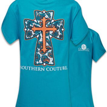 SALE Southern Couture Classic Preppy Paisley Cross Christian Tropical Blue T Shirt