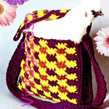 Instant Download Crochet Pattern Vintage 1970s Shoulder Bag with Handle Strap Purse Tote Boho Hippie PDF Pattern