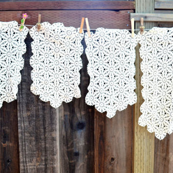 Lot of 4 Vintage Doilies, Table Runners or Dresser Scarves, Hand Made, circa 1950s-1960s