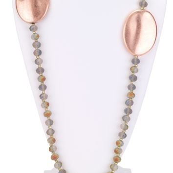 Faceted Beaded Necklace with Rose Gold Disks