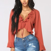 Bianca Ruffle Top - Rust