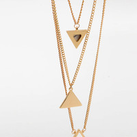 Gold Rhinestone Triangle Pendant Necklace