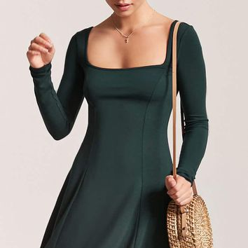 Square Neck Fit & Flare Dress
