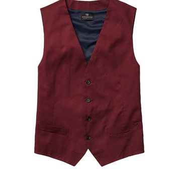 Classic Gilet In Cool Wool And Satin Twill - Scotch & Soda