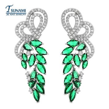 High - quality and extravagant zircon long earrings A four-color wedding party for female friends ER-130
